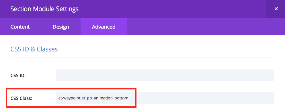 Image showing Divi section advanced settings tab