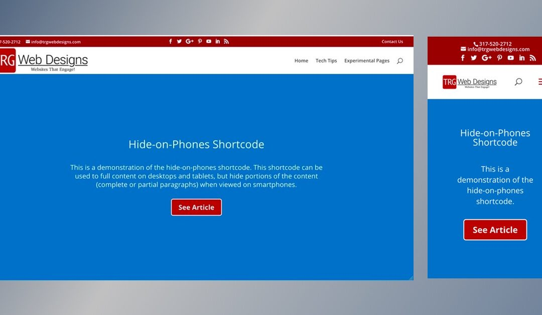 Shortcode to Hide Text Content on Smartphones