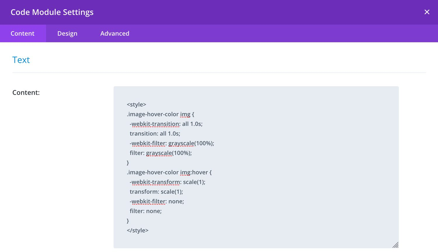 Image showing custom CSS added to Page Settings in Divi Visual Builder