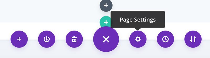 Image showing location of Page Settings in Divi Visual Builder